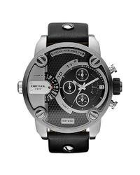 DIESEL | Black Diesel 'little Daddy' Chronograph Leather Strap Watch for Men | Lyst