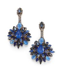 Erickson Beamon | Blue Swarovski Crystal Clustered Drop Earrings | Lyst