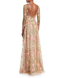 Notte by Marchesa Multicolor Floral-Embroidered Gown