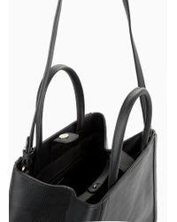 Mango Black Saffiano-Effect Tote Bag