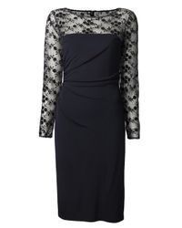 David Meister | Blue Sheer Lace Dress | Lyst