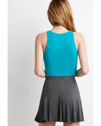 Forever 21 | Blue Racerfront Crop Top | Lyst