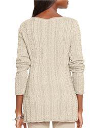 Lauren by Ralph Lauren Natural Petite Cable-knit Cotton Sweater