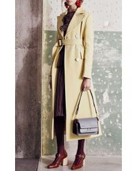 Marni Yellow Cotton Crepe Double Breasted Long Coat