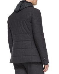 Vince - Black Quilted Zip-up Blazer - Lyst