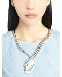 Oscar de la Renta - Metallic Delicate Silver Tulip Necklace - Lyst