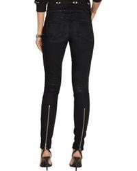 PAIGE Black Sienna Coated Mid-Rise Skinny Jeans