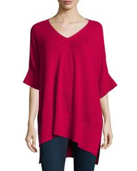 Neiman Marcus - Red Short-sleeve High-low Cashmere Tunic - Lyst