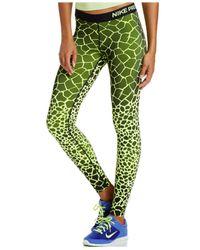 Nike Green Pro Engineered Dri-fit Giraffe-print Leggings