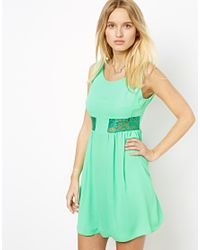 Love | Green Shift Dress with Lace Insert | Lyst