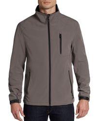 Calvin Klein - Gray Zip-Front Soft Shell Jacket for Men - Lyst