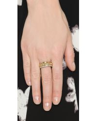 Rebecca Minkoff Metallic Three Band Ring Set - Gold/clear