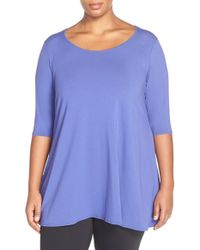Eileen Fisher | Blue Scoop-Neck Jersey-Knit Tunic Top | Lyst