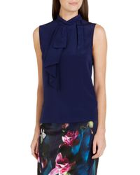 Ted Baker - Blue Syna Frill Neck Silk Top - Lyst