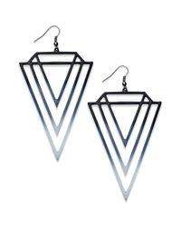 Material Girl | Black and White Ombre Triangle Drop Earrings | Lyst