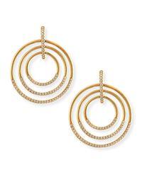 Carelle | Metallic 18k Moderne 3-ring Pave Diamond Earrings | Lyst