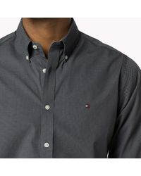 Tommy Hilfiger | Gray Cotton Printed Slim Fit Shirt for Men | Lyst