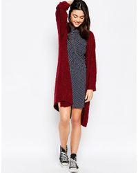 Brave Soul - Purple Long Lined Chunky Knit Cardigan - Lyst