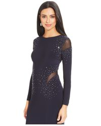 Xscape - Blue Long-Sleeve Embellished Illusion Gown - Lyst