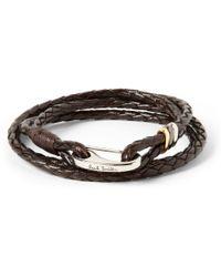 Paul Smith - Brown Wovenleather Wrap Bracelet for Men - Lyst