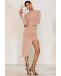 Glamorous - Natural Great Length Asymmetric Bodycon Dress - Beige - Lyst