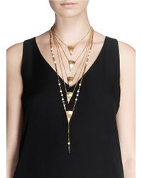Ela Stone | Metallic 'rosaria' Pearlescent Bead Amulet Tier Necklace | Lyst