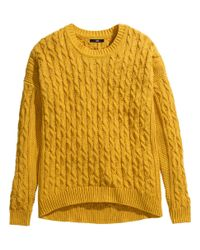 H&M Yellow Cable-Knit Jumper