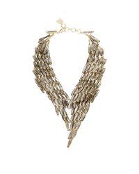 BCBGMAXAZRIA Metallic Stone Cascade Necklace