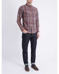 Ben Sherman Red Madras Check Long Sleeve Shirt for men