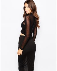 Bardot - Black Draped Mesh Crop Top With Sheer Sleeves - Lyst