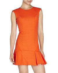 LaPina by David Helwani   Orange Ribbed Drop Waist Dress   Lyst