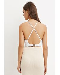 Forever 21 - White Crisscross-back Cropped Cami - Lyst