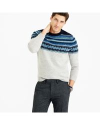 J.Crew Blue Lambswool Fair Isle Sweater In Navy for men