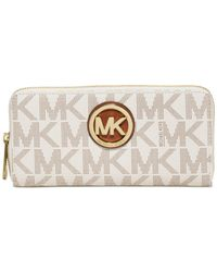 Michael Kors | White Michael Fulton Zip Around Continental Wallet | Lyst
