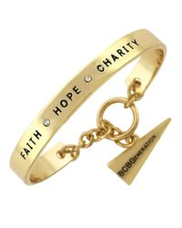 BCBGeneration | Metallic Goldtone Faith Hope Charity Bracelet | Lyst