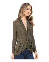 Culture Phit - Green Cowl Neck Long Sleeve Top - Lyst