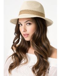Bebe - Natural Gold Band Panama Hat - Lyst