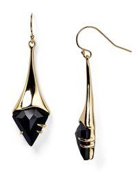 Alexis Bittar Metallic Miss Havisham Fancy Black Crystal Shield Drop Earrings