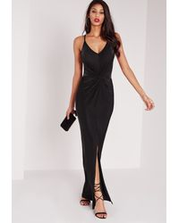 Missguided Strappy Slinky Knot Front Maxi Dress Black