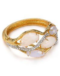 Alexis Bittar Metallic Multi Stone Crystal Encrusted Vine Hinge Bangle
