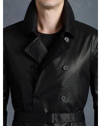 John Varvatos Black Double Breasted Trench Coat for men