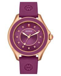 Michele Purple 'cape' Topaz Dial Silicone Strap Watch