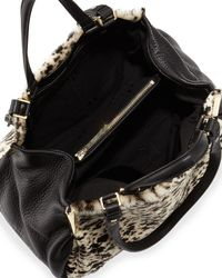 Halston - Black Leather and Calf Hair Shoulder Bag - Lyst