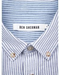 Ben Sherman Blue Bengal Stripe Long Sleeve Shirt for men
