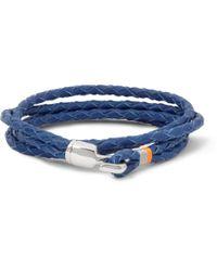 Miansai Blue Woven-Leather Wrap Bracelet for men