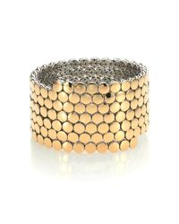 John Hardy | Metallic Dot 18k Yellow Gold & Sterling Silver Multi-row Coil Bracelet | Lyst