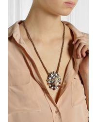 Shourouk Pink Hindi Goldplated Swarovski Crystal and Pearl Necklace