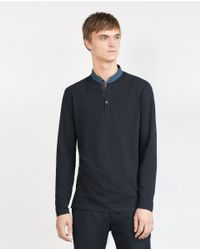 Zara | Blue Mao Collar Polo Shirt for Men | Lyst