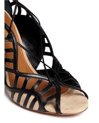 Aquazzura - Brown Lola' Leather Cutout Trim Suede Pumps - Lyst