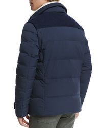 Loro Piana - Blue Mixed-media Quilted Jacket for Men - Lyst